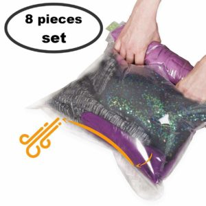 8 Travel Space Saver Bags – No Vacuum or Pump Needed