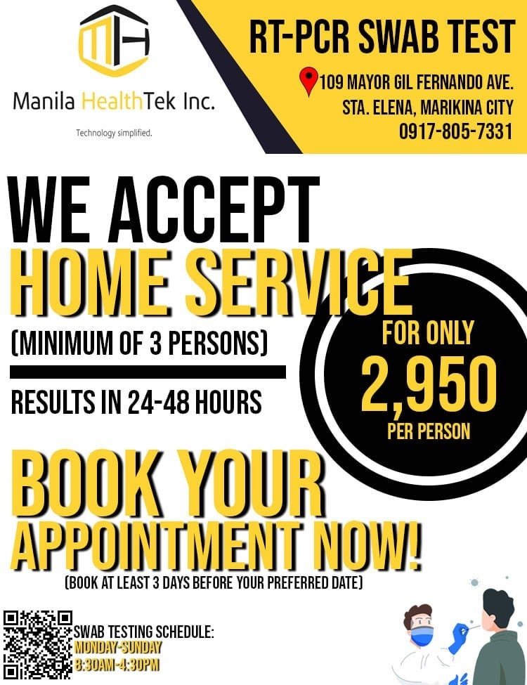 Manila HealthTek Offers Low-Cost COVID-19 home testing at P 2,950 per person